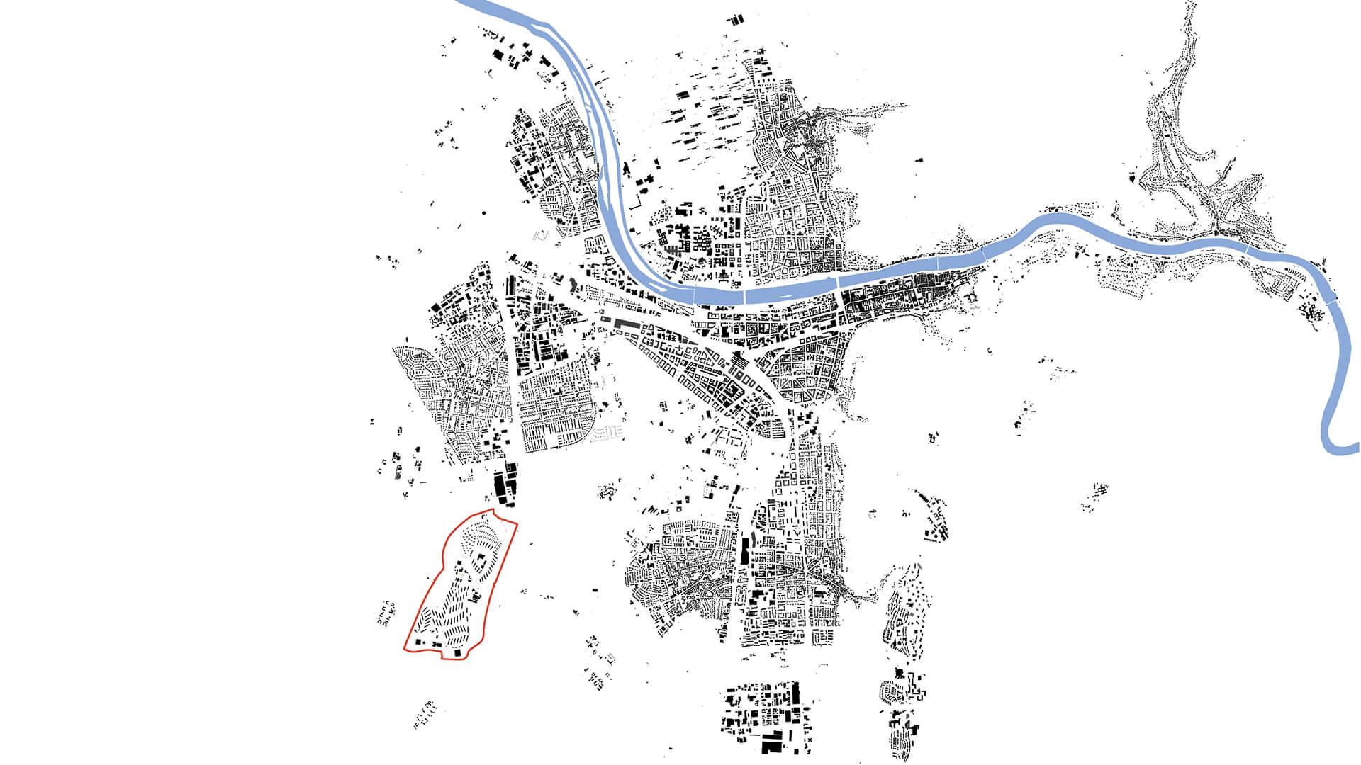 Die Lage des PHV  (rot umrandet) im Schwarzplan von Heidelberg. © IBA Heidelberg