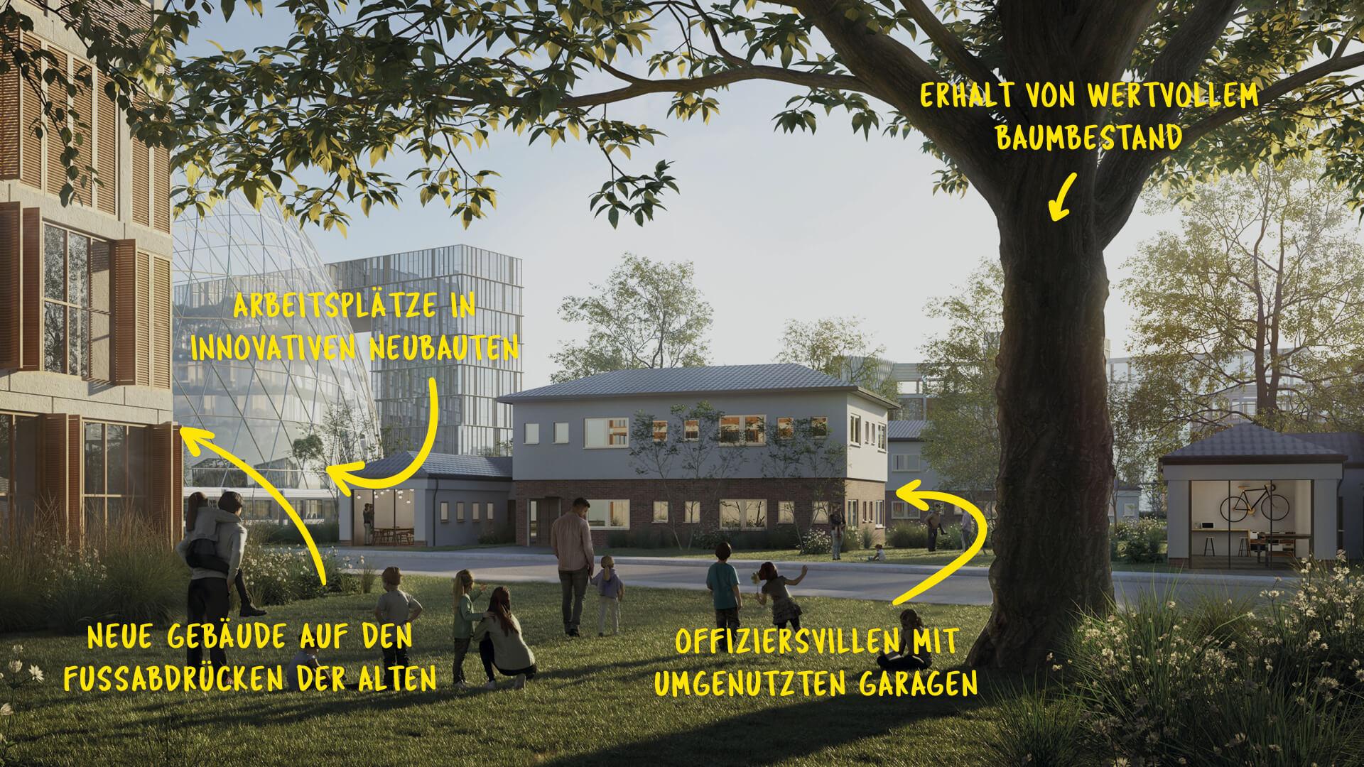 Die Offiziersvillen im Norden sollen weiter genutzt werden, der Baumbestand erhalten bleiben. © KCAP