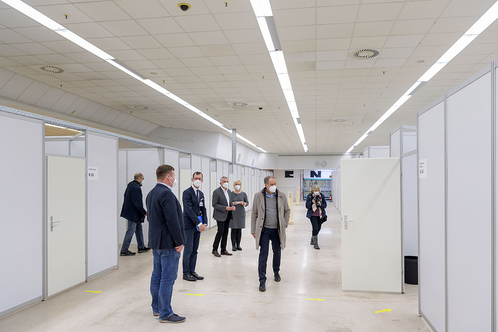 Offizielle Eröffnung: Seit Dezember 2020 befindet sich das zentrale Impfzentrum des Rhein-Neckar-Kreises auf dem Gelände von PHV. © Rothe