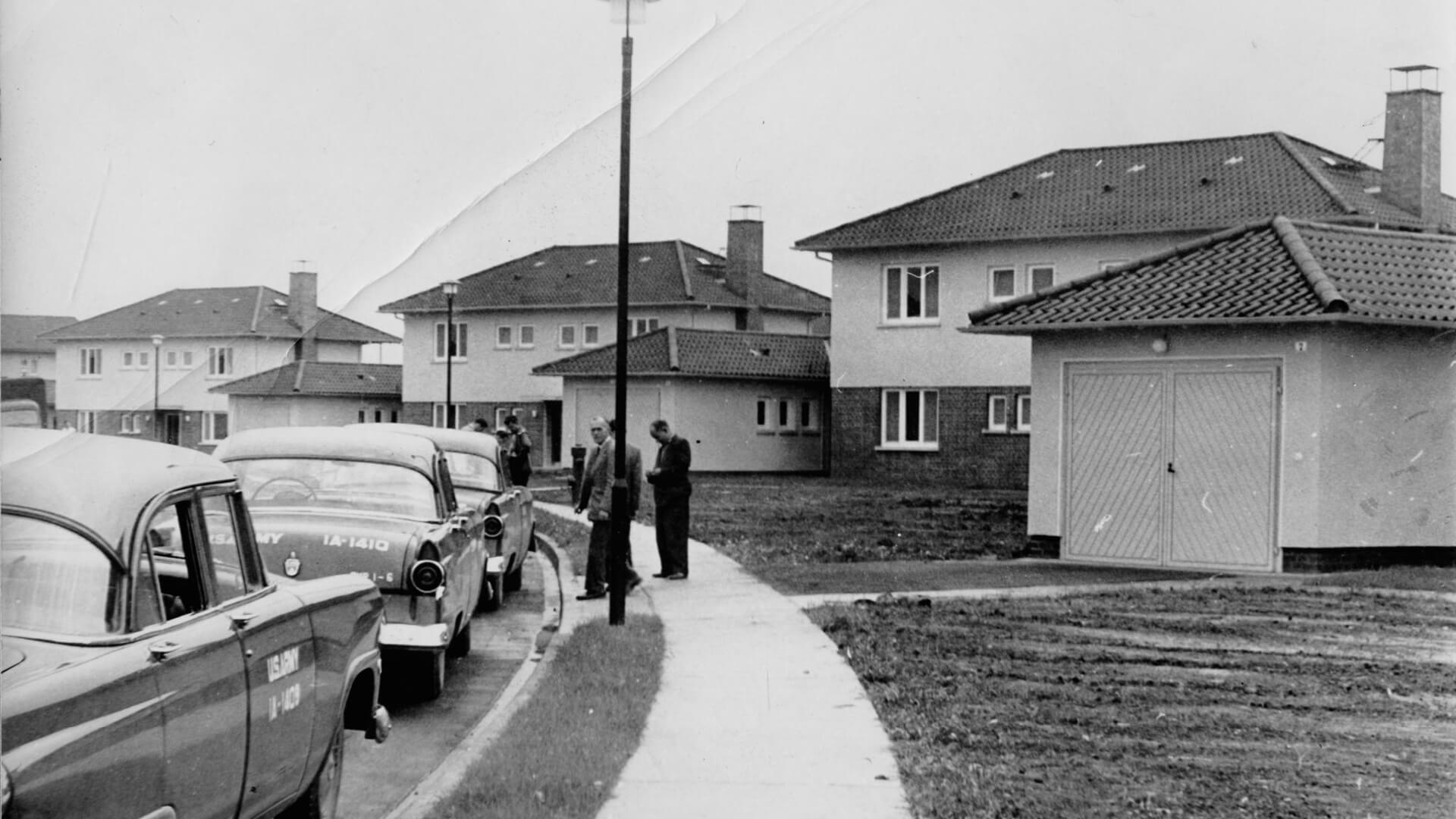 Familien-Wohnhäuser im PHV, aufgenommen 1955. © Stadtarchiv Heidelberg